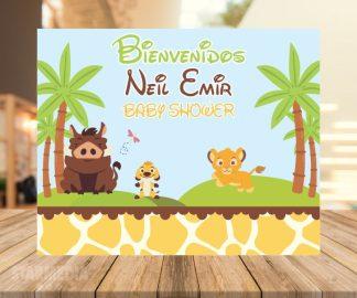 fondo baby shower rey león bebé - decoracion baby shower safari