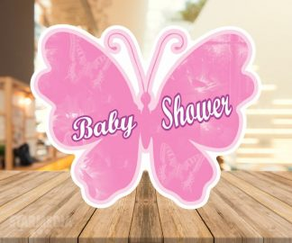 fondo baby shower mariposa - decoracion baby shower rosado