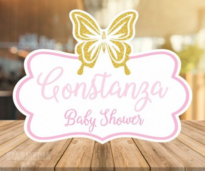 fondo baby shower mariposa gold - decoracion baby shower dorado