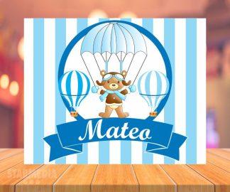 fondo baby shower oso paracaidista - decoracion baby shower globos aerostático