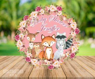 fondo baby shower animales del bosque - decoracion baby shower animales del bosque