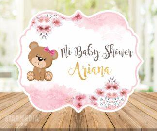 fondo baby shower osita - decoracion baby shower lazo