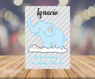 fondo baby shower elefante nube - decoracion baby shower elefante celeste