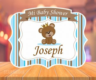 fondo baby shower oso - decoracion baby shower oso corona